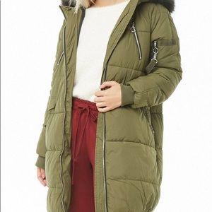 Vero Moda Hooded Longline Olive Puffer Jacket